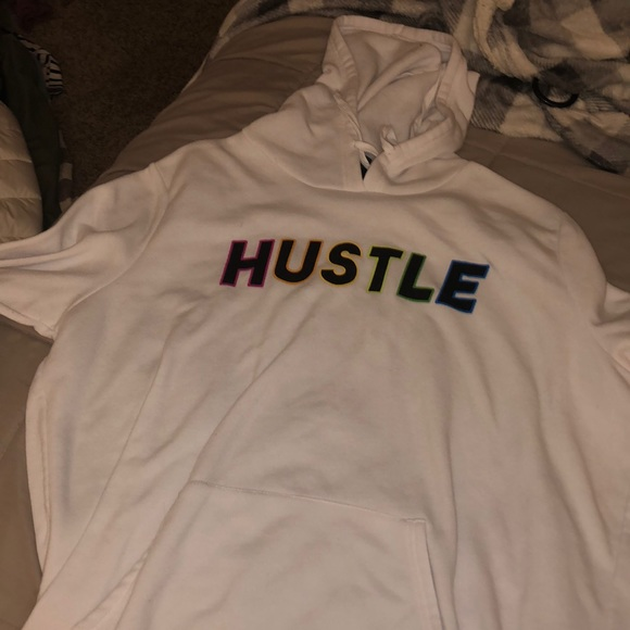 "Rue21 Jackets & Blazers - rainbow lettering on white sweatshirt ""HUSTLE"""